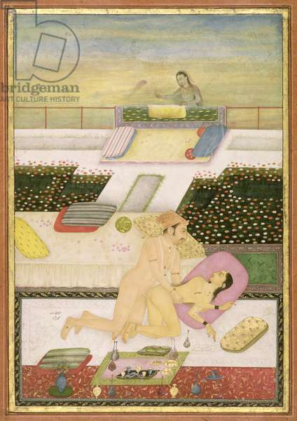 The private pleasure of Saif Khan by Chitraman, Bikaner, Rajasthan, Rajput School, c.1678-98, (gouache on paper)