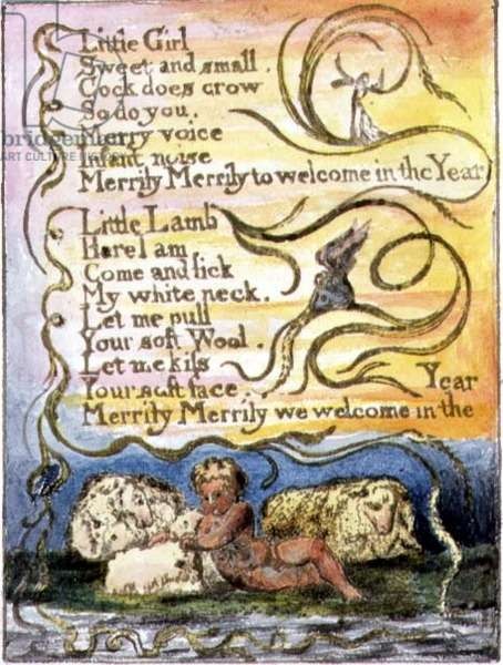 P.124-1950.pt23 Spring (cont.): plate 23 from Songs of Innocence and of Experience (copy R) c.1802-08 (etching, ink and w/c)