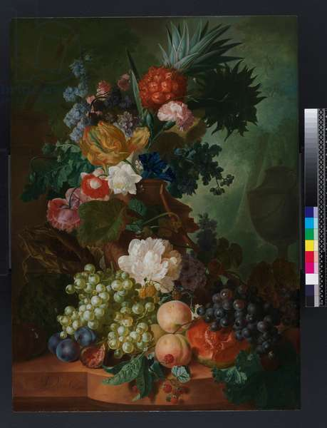 Vase of flowers and fruit, before 1808 (oil on panel)