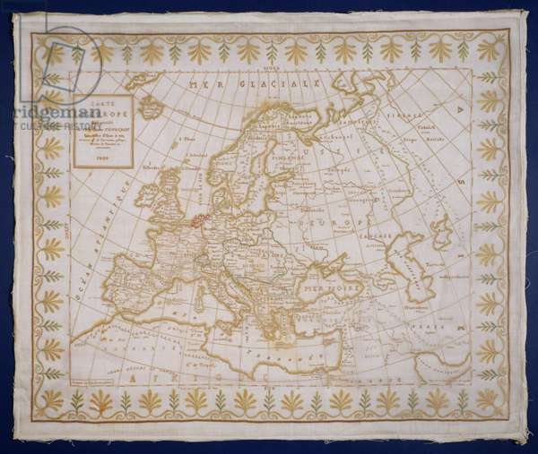 T.143-1938 Sampler showing a map of Europe sewn by Fanny Le Gay, presented to M. le Comte Fourgroy, French, 1809 (coloured silks on gauze)