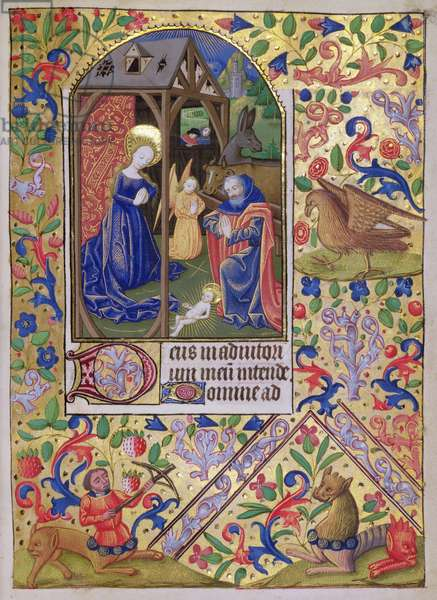 MS 76 f.54r The Nativity from a Book of Hours, French, c.1490 (vellum)