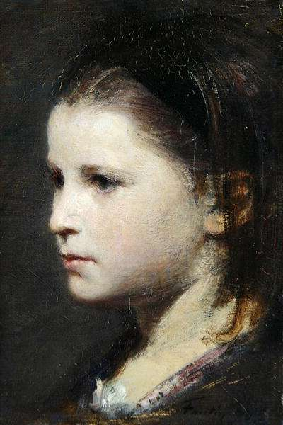 Head of a young girl, 1870 (oil on canvas)