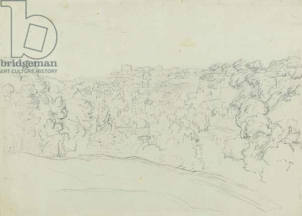 Bridgenorth (?) (graphite on grey-green paper, laid down)
