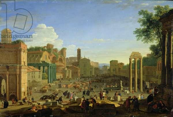 View of the Campo Vaccino in Rome, c.1631 (oil on copper)