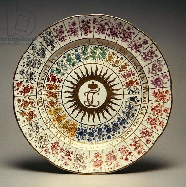 Trial plate for colours developed by Simon Feilner, 1775 (moulded porcelain, painted in enamels)