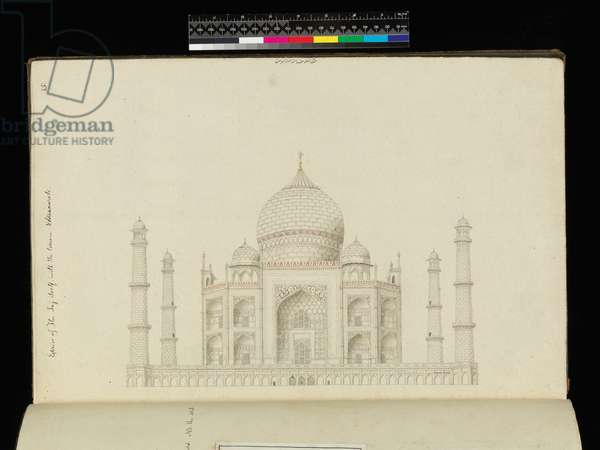 Exterior of the Taj Mahal with terrace, plate from an album of drawings of Indian buildings, 19th century