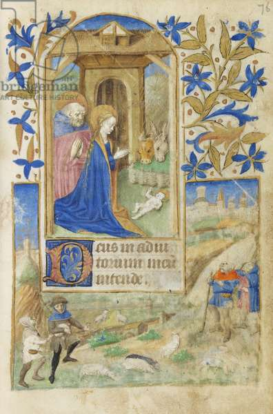 MS 39-1950 f.76r The Nativity, 1464 (gold silver & coloured ink on parchment)