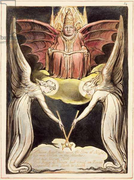 P.127-1950.pt.32 A priest on Christ's throne, wearing a papal tiara and bat's wings from 'Europe, A Prophecy', c.1821 (relief etching with pen & w/c on paper)