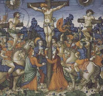 MAR.C.57-1912 The Crucifixion, probably from the Mancini workshop, tin-glazed earthenware panel, Deruta pottery, c.1545-56