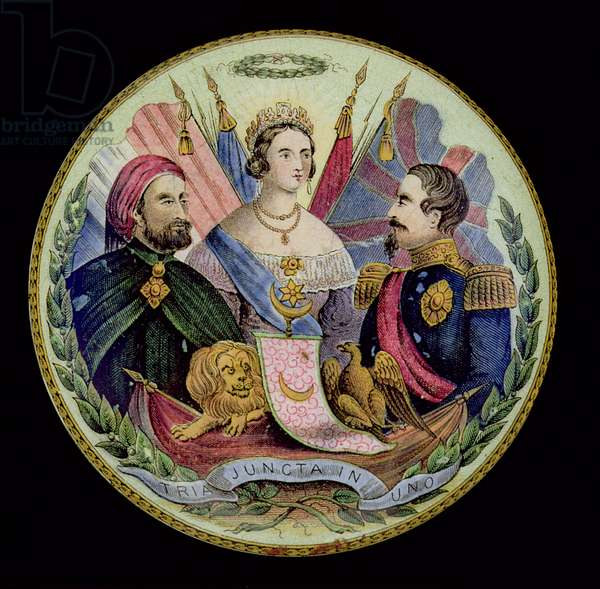 Porcelain pot lid depicting Queen Victoria, Napoleon III and Abdul-ul-Mejid, Sultan of Turkey, by T.J.and J.Mayer, Dale Hall, Longport, Staffordshire, late 19th century