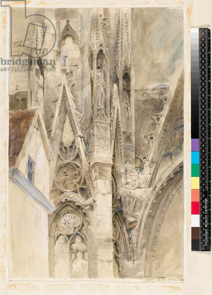 Entrance to South Transept of Rouen Cathedral, 1854 (graphite, black chalk, pen & ink and wash, with some white on paper, laid down)