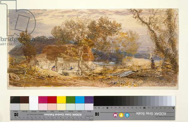 A Farm in Kent, c.1826-32 (brown and blue chalks & w/c)