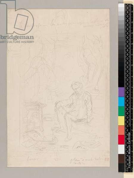 Studies for 'Michelangelo in his studio', 1800-1899 (black lead on paper)