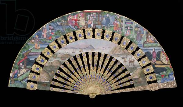 Folding 'Applied Faces' Cabriolet fan, side A showing Chinese People with Foreign Shipping in the lower leaf, Chinese, c.1840 (painted paper, ivory, silks, gilt and enamel) (see: 111252 for side B)
