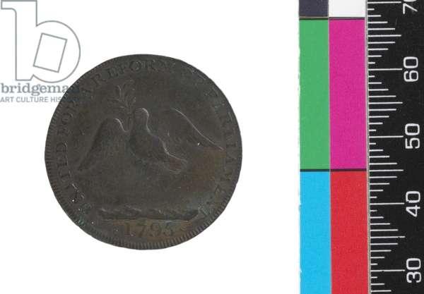 Halfpenny, reverse, 1795 (copper)