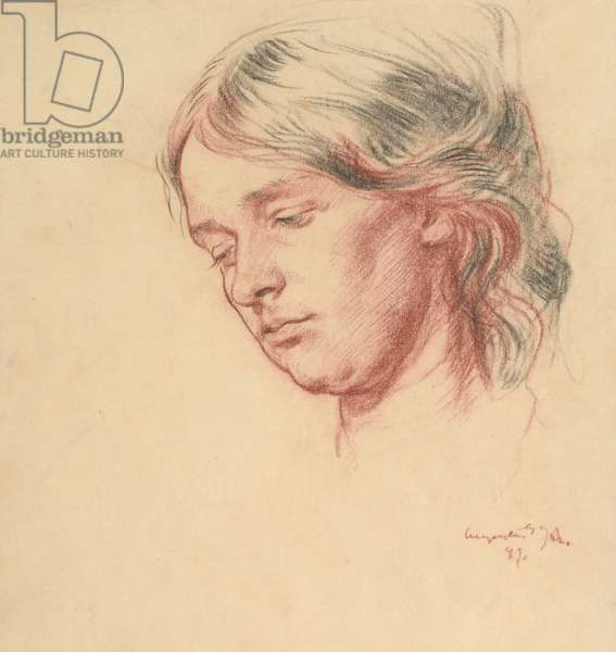 Portrait of Grace Westray, 1899 (red & black chalk on paper)