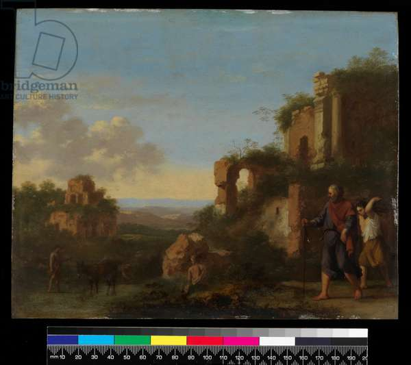 Landscape, with Abraham and Isaac, before 1667 (oil on copper)