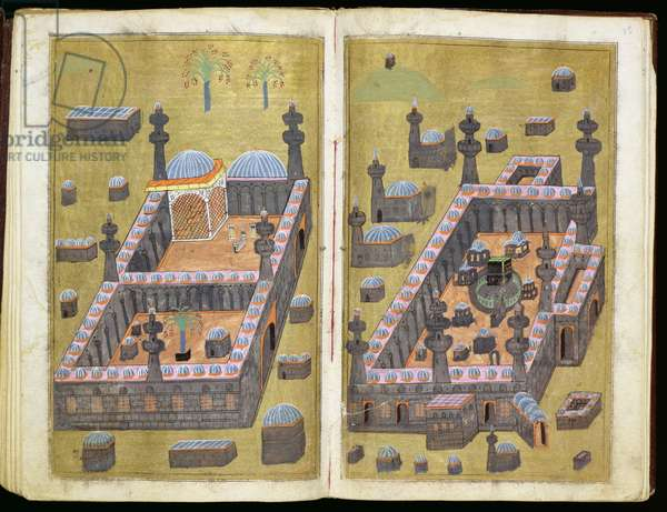 MS.343.f15v-16r The mosques at Medina & Mecca, from `Reasons for Charity', by Mustafa Al-Shukri, 1160 (gouache on paper)
