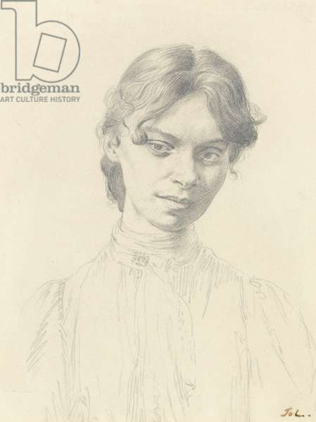 Head of Mary McEvoy (graphite on paper)