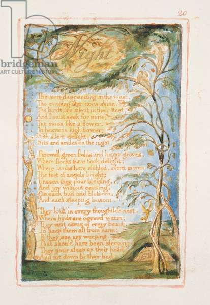 P.125-1950.pt20 Night: plate 20 from Songs of Innocence and of Experience (copy AA) c.1815-26 (etching, ink and w/c)