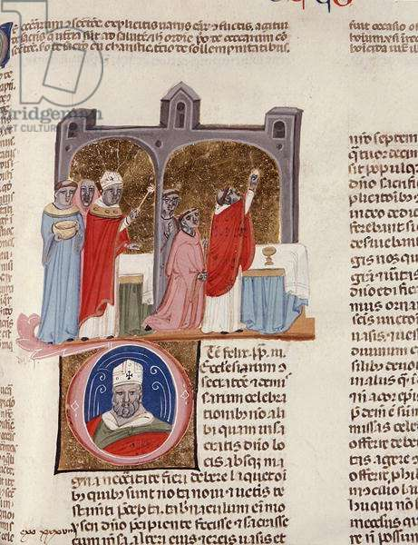 Ms. 183, f.312r: De consecratione, miniature from the 'Decreta cum Apparatu Ioannis Andreae Laurentii (vellum)