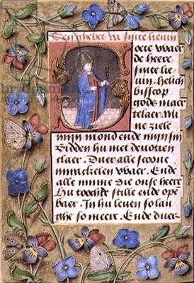 Ms McClean 93 f.152v Page with floral border and text with historiated initial 'G' depicting a bishop holding pincers with a tongue in them, from a Book of Hours, Flemish, 15th century
