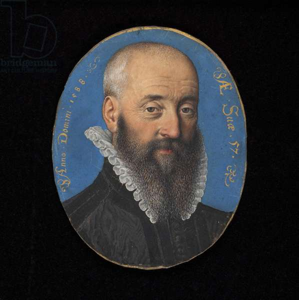 Portrait miniature of an unknown man aged 57, 1588 (w/c on vellum)