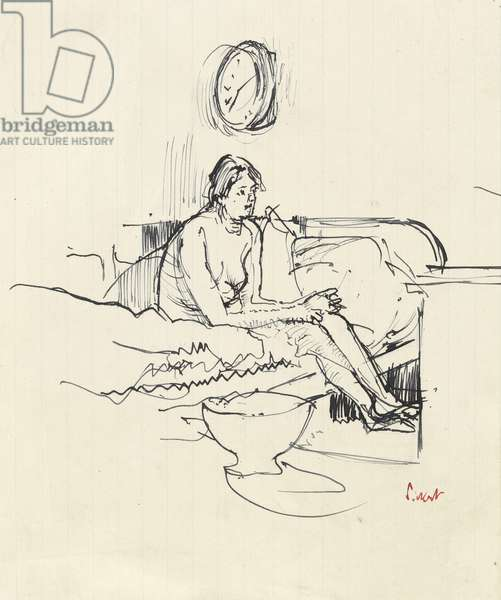 Girl seated on a bed (pen & blue ink on paper)