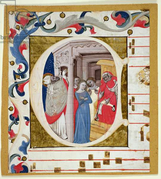 Ms. 278A: Historiated initial cut from an antiphoner (vellum)