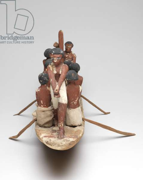 Model sailing boat from the Tomb of Khety (Beni Hasan) Middle Kingdom, c.2010 B.C. - 1950 B.C. (painted wood and linen)
