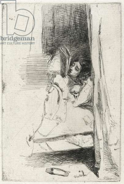 Reading in Bed (The Slipper) 1858 (black carbon ink on Antique laid paper)