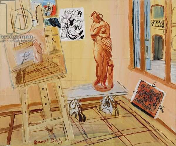The Artist's Studio, c.1942-45 (oil  on canvas squared in graphite)