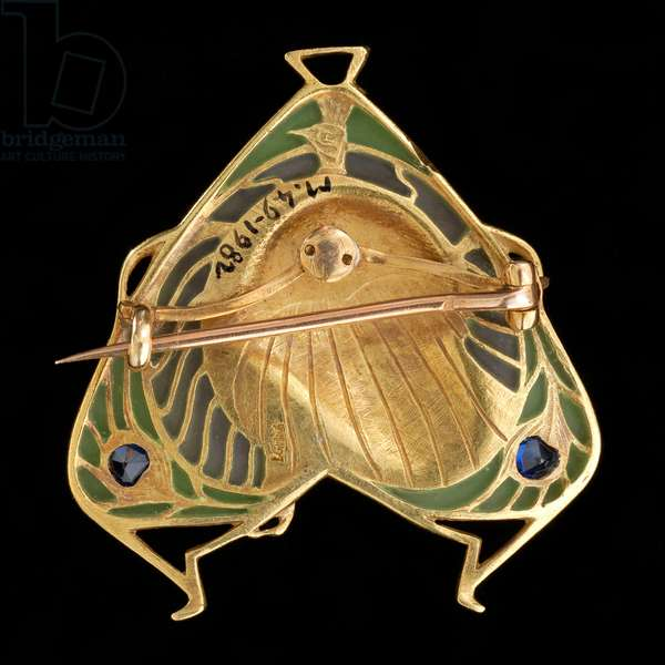 Brooch-pendant, c.1900 (gold and plique à jour enamel with sapphires)