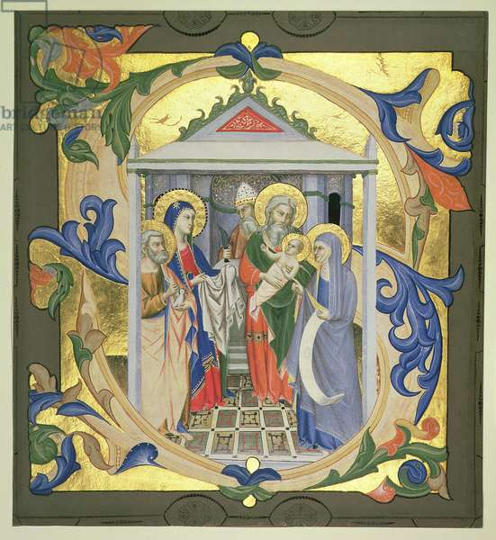 Historiated initial 'S' depicting the Presentation in the Temple, from a choir book, Italian, c.1370-87 (vellum)