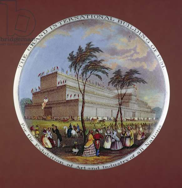 Pot lid depicting Crystal Palace, by T.J. and J. Mayer, Dale Hall, Longport, Staffordshire, 1851 (ceramic)