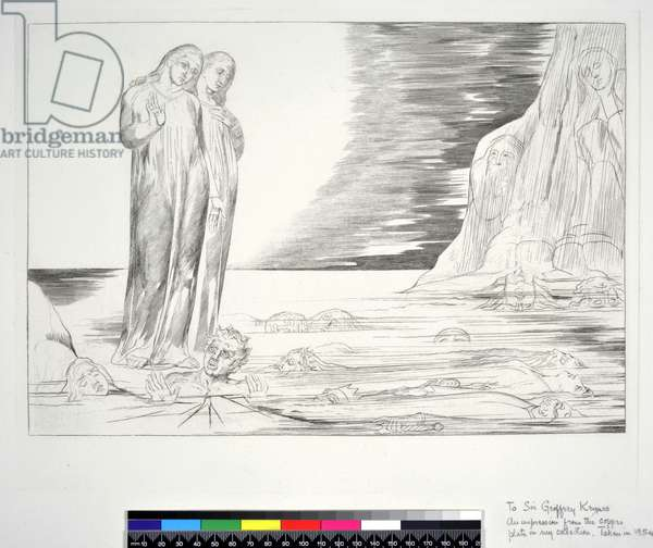 The Circle of the Traitors: Dante's Foot striking Bocca degli Abbate, Inferno, Canto XXXII, illustration to the 'Divine Comedy' by Dante Alighieri, 1954 (engraving)