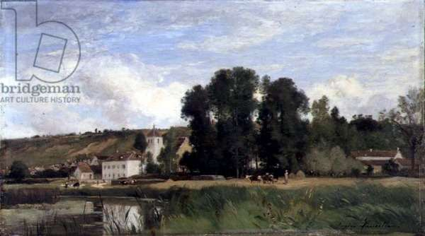 On the Banks of the Seine at Levy, 1884 (oil on panel)