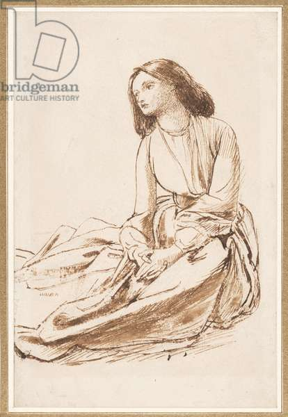 Elizabeth Siddal, seated on the ground (pen, sepia and wash on paper)