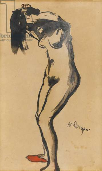 Standing Female Nude (black ink & w/c on paper)