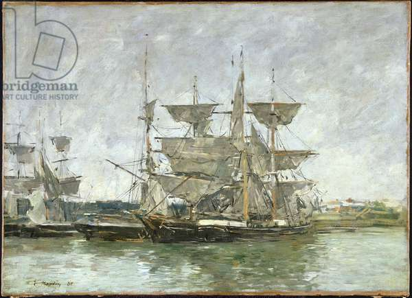 Boats in the Port, Deauville, 1881 (oil on canvas)
