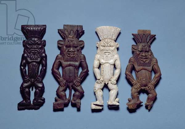 Four figures of the grotesque deity Bes, New Kingdom (wood and ivory)