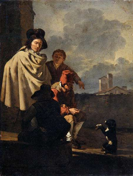 Italians with a dog, 1650 (oil on copper)
