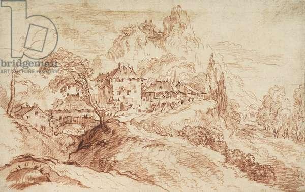 An Italian village in a mountainous landscape (red chalk on paper)