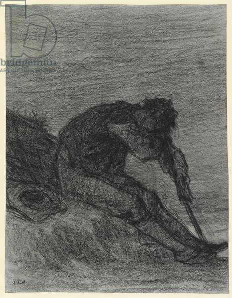 The Tired Haymaker (black chalk on paper)