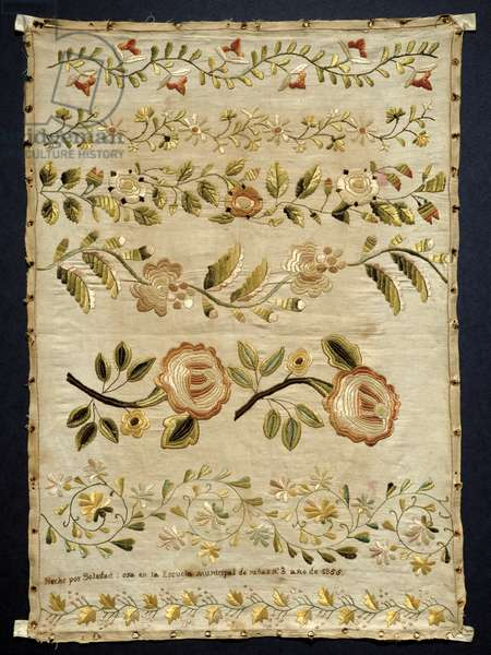 T.17-1952 Sampler of floral designs, Spanish or Mexican, 1856 (coloured silks on linen)