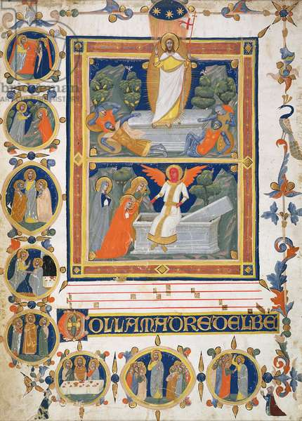 T.3216 Ms 194 Leaf from an Italian Choral Book: the Resurrection; scenes from the Life of Christ, 14th century, Vellum