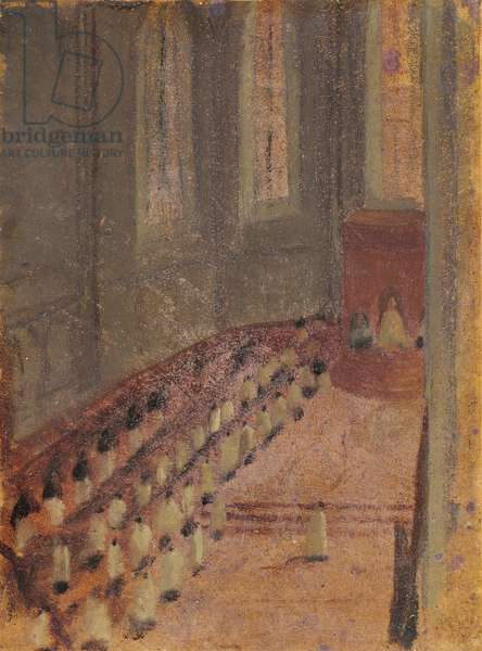 Ceremony of Ordination at Lyon Cathedral (oil on paper maroufle on canvas)