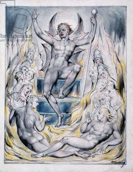 Satan Addressing his Potentates, illustration from 'Paradise Regained' by John Milton, c.1816-18 (pen & ink, grey wash and w/c on paper)