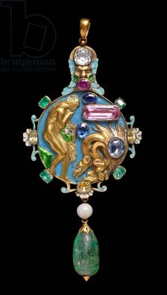 Pendant: The Descent of Psyche into Hell, 1904 (gold, enamel & semi-precious and precious stones)