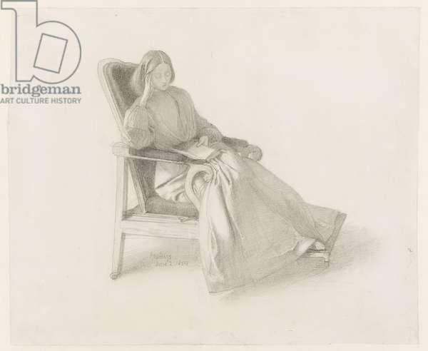 Portrait of Elizabeth Siddal, 1854 (graphite with pen & ink on paper)
